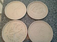 Four 4 NEW HERMITAGE POTTERY  SHORTBREAD SANDSTONE COOKIE MOLDS TRIVETS 1999
