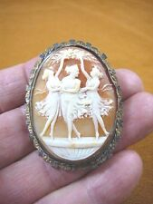 C-1357) Three Muses Graces Woman dancing shell carved CAMEO gold plt pin pendant