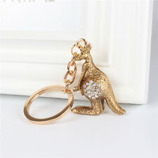 New Kangaroo Lovely Creative Crystal Pendant Charm Purse Bag Key Chain Ring Gift