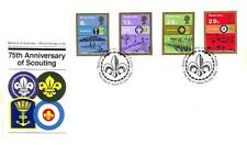 GUERNSEY BOY SCOUTS SCOTT #246-49 STAMP SET ON FIRST DAY COVER FDC 1982
