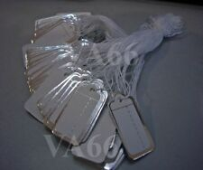 DIY Price Tags with string 100p Silver n White Pricing Easy Pricing Solution Tie