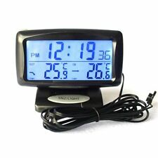 Auto Car Multi Blu LED Digital LCD Alarm Clock IN/OUT Thermometer Monitor Alarm