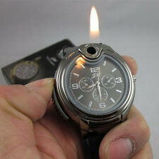 Multifunctional Cigarette Lighter Black Silicone Belt Quartz Watch For Men