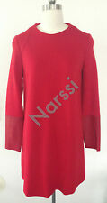 Elegant Chic Joseph Red Dress with Leather Sleeve Sz36