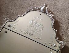 Beautiful Antique Carved Wood Cherub & Etched Flamingo Wall Mirror Early 1900's