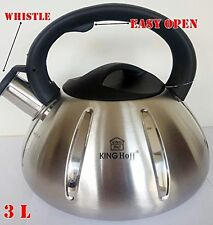 Whistling Kettle 3.0 L Stainless Steel Camping Silver/ Black induction / STOVE