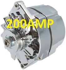 200AMP HIGH AMP CHROME ALTERNATOR SELF EXCITING 1 WIRE SYSTEM FOR CHEVY GM BUICK