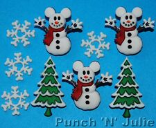 MICKEY SNOWMAN - Disney Christmas Tree Snowflake Mouse Dress It Up Craft Buttons