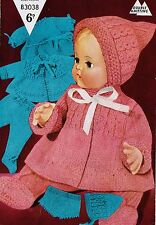 Dolls clothes knitting pattern for 16 inch doll.  Laminated copy.(V Doll 43)