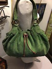 Lucky Brand leather tote/shoulder bag forest green suede w/drawstring