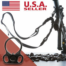 AR 15 Single Point Sling With Adapter Plate Mount Rifle Sling Tactical Bungee