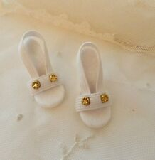 """White with Vintage Brads High Heel Doll Shoes for 18"""" Miss Revlon"""