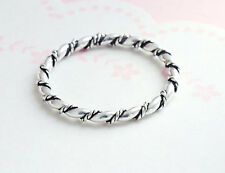 925 Sterling Silver 2mm Twisted Rope Stacking Ring, Size 8 US