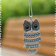 Lady Women Vintage Silver Long Chain Owl Pendant Necklace best Gift For XMAS