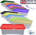 5 x 32L 32 Litre Underbed Plastic Storage Clear Box Stack Container + Colour Lid