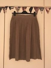 Zara Oatmeal Beige Brown Camel Knitted Pleated Midi Skirt M 10 12