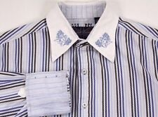 ENGLISH LAUNDRY Blue Embroidered Button Front FLIP CUFF Striped Shirt Sz MEDIUM