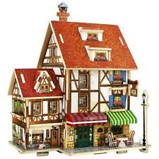 Kid Toy 3D Wood Puzzle DIY Model Dollhouse French Style Coffee Wood House P #EAL