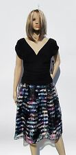 NWT WOMEN'S S.L. FASHIONS SIZE 12 BLACK & FLORAL ORGANZA RUCHED $98 PARTY DRESS
