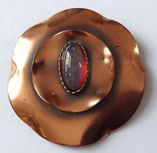 RARE VINTAGE ROSLYN HOFFMAN SIGNED DRAGONS BREATH STONE COPPER BROOCH