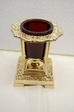 SOLID BRASS VOTIVE CANDLE HOLDER WITH RED GLASS.  MORE AVAILABLE. (CHURCH CO.)