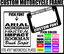 ORANGE CUSTOM FONT MOTORCYCLE CUSTOM PERSONALIZED License Plate Frame COLOR