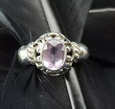 BEAUTIFUL ESTATE STERLING SILVER AMETHYST SCROLL DESIGN BAND RING SIZE 6.5