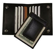 Leather Bifold Magnetic Money Clip Slim Credit Card Id Holder Black Men's Wallet