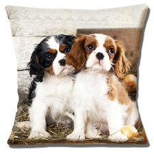 "TWO CAVALIER KING CHARLES SPANIEL PUPPIES PHOTO PRINT 16"" Pillow Cushion Cover"