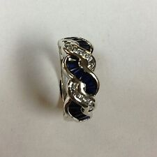 SAPPHIRE & DIAMOND 14K WHITE GOLD RING BAND SIZE 7