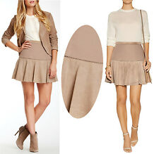 $495 Halston Heritage Lamb Suede Leather Cross Stitch Light Fatigue Skirt 14