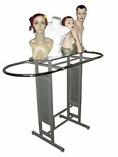Double Bar Silver clothing garment racks Store Fixture Rack W/Glass Shelf YS14