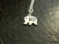 Genuine 925 Sterling Silver Cute Tiny Small Elephant Charm Pendant Necklace.Gift
