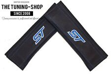 2x NEW SEAT BELT COVERS PADS SHOULDER LEATHER CUSTOM EMBROIDERY ST Blue stitch