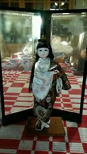 Vintage Japanese Doll With Black Lacquered Display Case...Rare!
