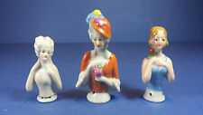 Three Small Sized Vintage Porcelain Half Dolls - Pin Cushion Tops