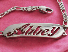 Abbey Bracelet 18ct White Gold Plated Silver tone Name Jewelry Personalise Gifts