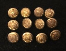 12 X Vintage 16mm Gold / Gilt Crest Crested Buttons Blazer Uniform Livery