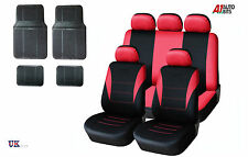 13 PCS RED CAR SEAT COVERS & RUBBER CAR MATS SET FOR VW CADDY MAXI LIFE