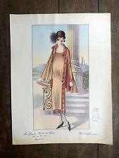 Grande Gravure Mode Couleur GRANDES MODES DE PARIS Art Déco 1925 Ensemble exquis