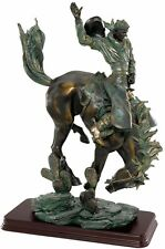 Bucking Bronco American Wild West Rugged Cowboy Faux Bronze Statue Sculpture