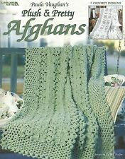 Paula Vaughan's Plush & Pretty Afghans Crochet Instruction Patterns Book NEW