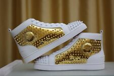 NEW CHRISTIAN LOUBOUTIN Louis Flat Spikes White Gold Leather Sneakers Shoe EU41