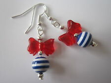 Drop / Dangle Earrings - Nautical / Sailor Stripe & Red Bow - Blue / White / Red