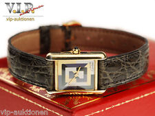 CARTIER TANK ART DECO MONTRE UHR DAMENUHR VERMEIL SILBER/18K GOLD LADY WATCH+BOX