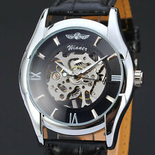 Winner Stainless Steel Skeleton Roman Numerals Leather Watch - New