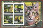 FRENCH GUINEA - ERROR, 2011 IMPERF SHEET: CATS, Fauna & Flora, F.Zappa, E.Taylor
