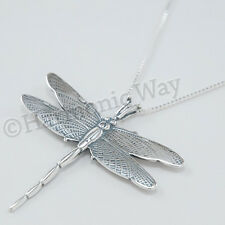 "Beautiful DRAGONFLY charm Pendant & 18"" chain Necklace 925 Sterling Silver Large"