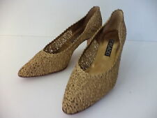 CASADEI GOLD BOUCLE & LEATHER PUMP MEDIUM HEEL SHOE SZ US 9M MADE IN ITALY