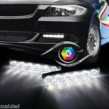COPPIA LUCI FANALE DIURNE 2x 6 LED FENDINEBBIA CAR DAYTIME RUNNING LIGHT